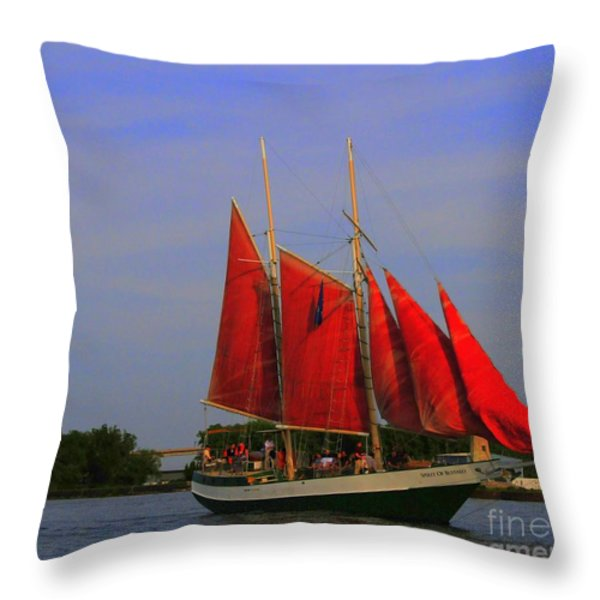 Red Sails Throw Pillow by Kathleen Struckle