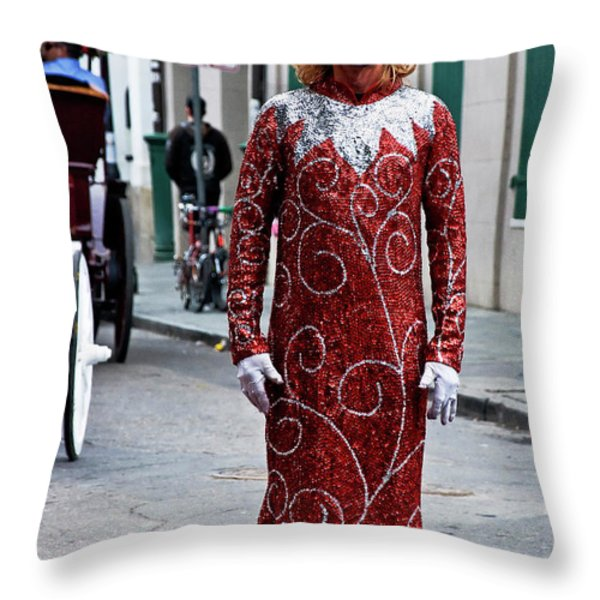 Red Sequined Mime Throw Pillow by Kathleen K Parker