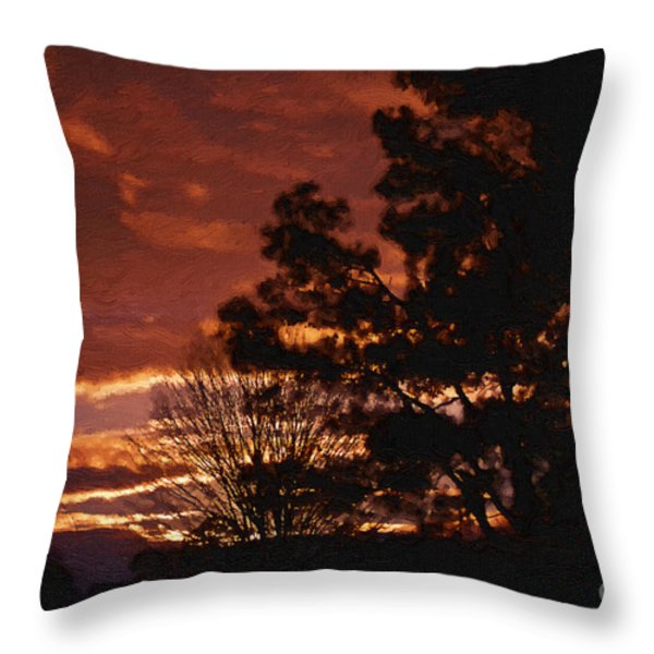 Red Sky At Night Throw Pillow by Cris Hayes