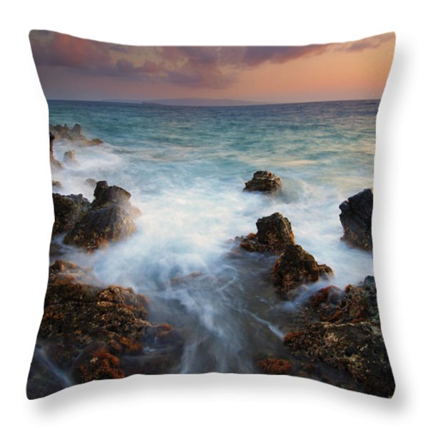 Red Sky Over Kahoolawe . .  Throw Pillow by Mike  Dawson