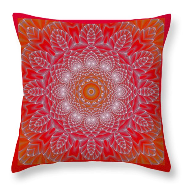 Red Space Flower Throw Pillow by Hanza Turgul