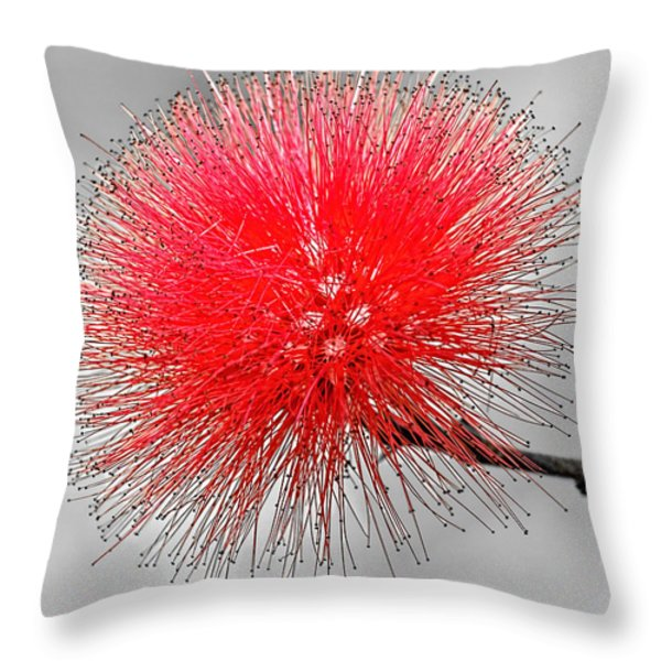 Red Spikes Throw Pillow by Dawn Currie