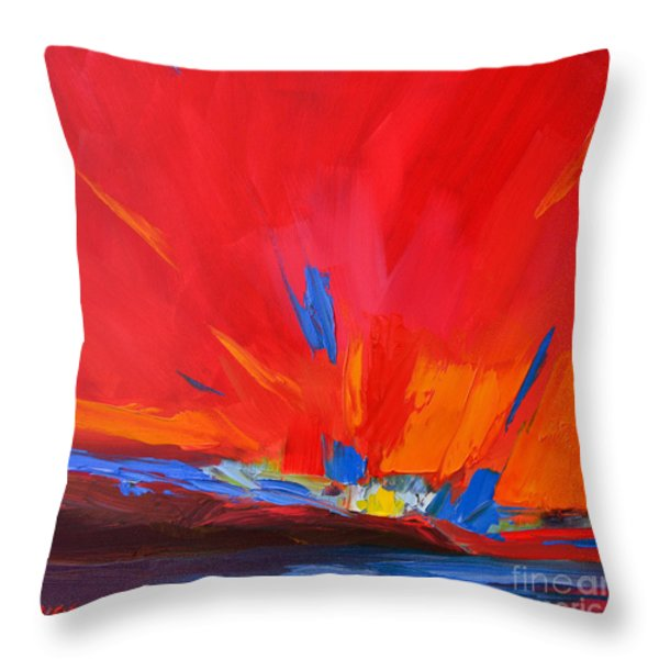 Red Sunset Abstract Throw Pillow by Patricia Awapara