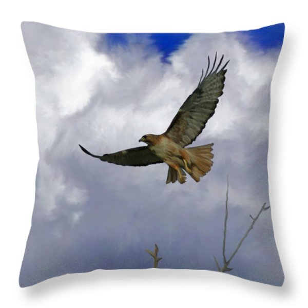 Red Tail Hawk Digital Freehand Painting 1 Throw Pillow by Ernie Echols