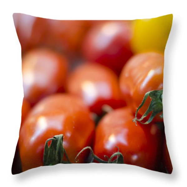 Red Tomatoes at the Market Throw Pillow by Heather Applegate