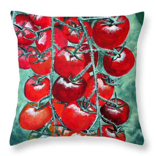 Red Tomatos Throw Pillow by Huy Lee