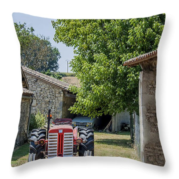 Red Tractor on a French Farm Throw Pillow by Nomad Art And  Design