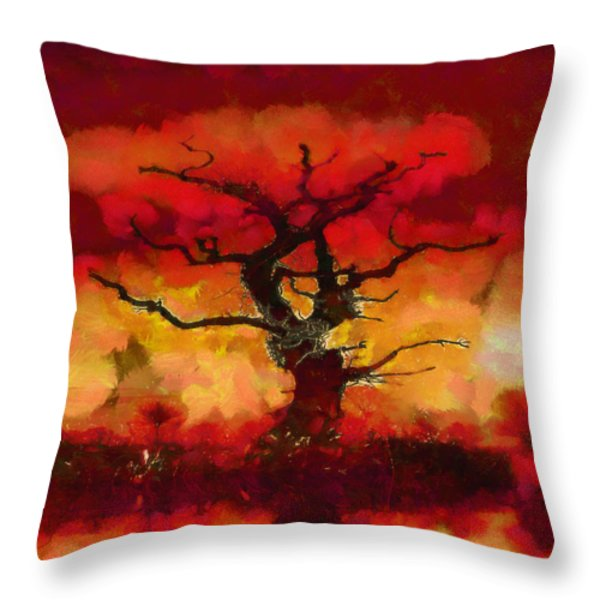 Red tree of life Throw Pillow by Pixel Chimp