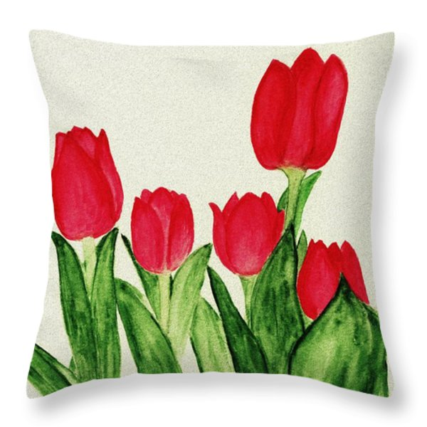 Red Tulips Throw Pillow by Anastasiya Malakhova