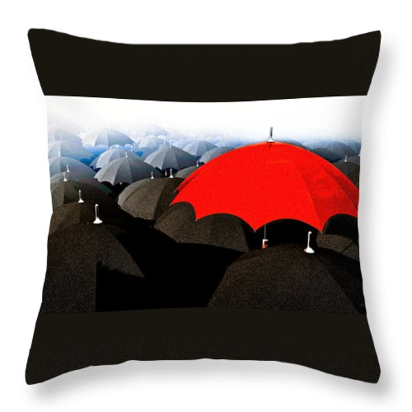 Red Umbrella In The City Throw Pillow by Bob Orsillo