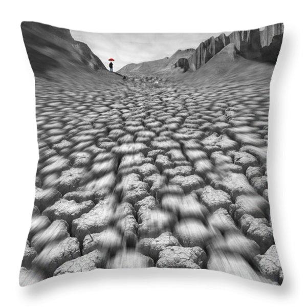 Red Umbrella Throw Pillow by Mike McGlothlen