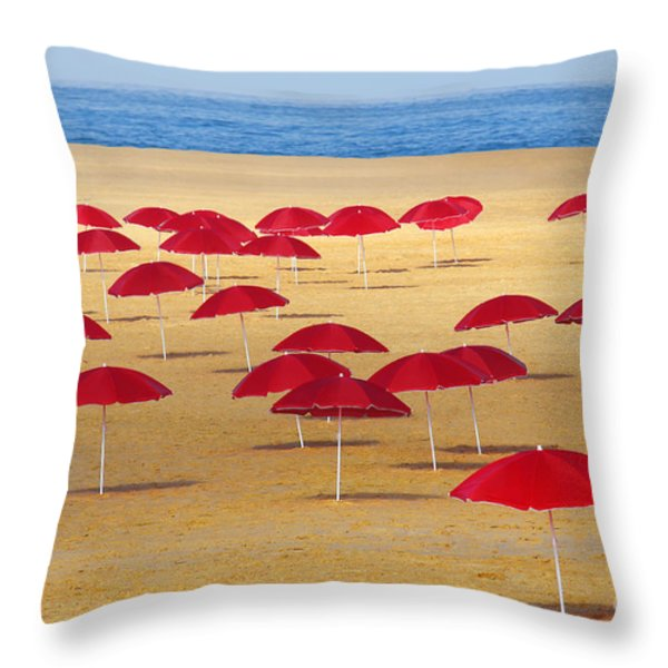 Red Umbrellas Throw Pillow by Carlos Caetano