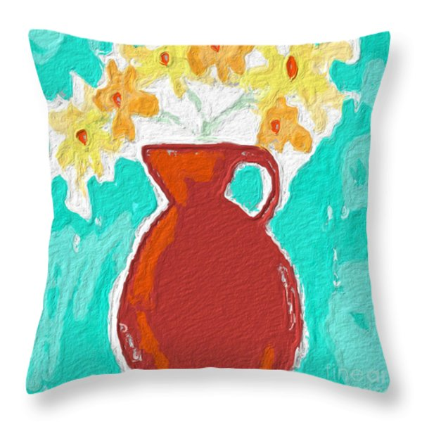 Red Vase Of Flowers Throw Pillow by Linda Woods