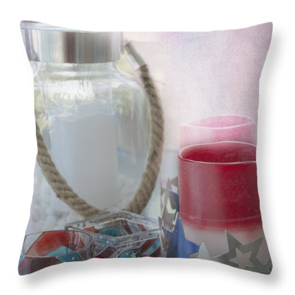Red White and Blue Throw Pillow by Judy Hall-Folde