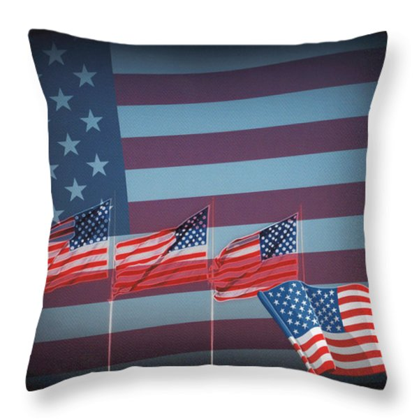 Red White And Blue Throw Pillow by Kay Novy
