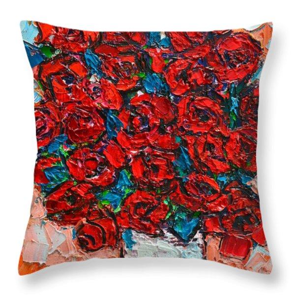 Red Wild Roses Throw Pillow by Ana Maria Edulescu