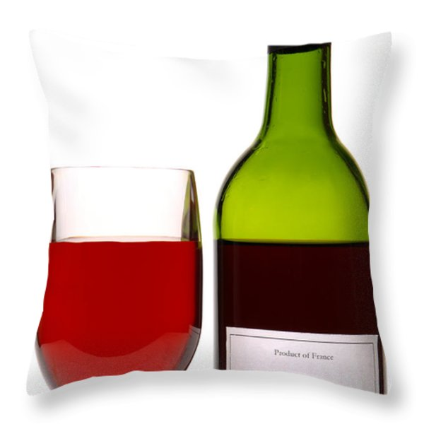 Red Wine And Bottle Throw Pillow by Olivier Le Queinec
