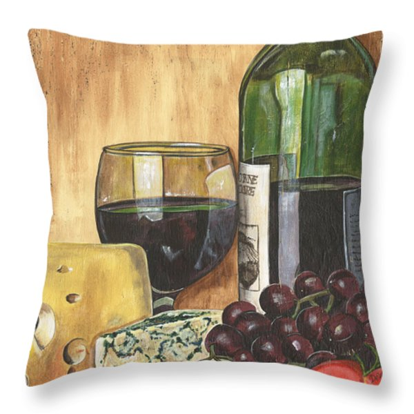 Red Wine And Cheese Throw Pillow by Debbie DeWitt