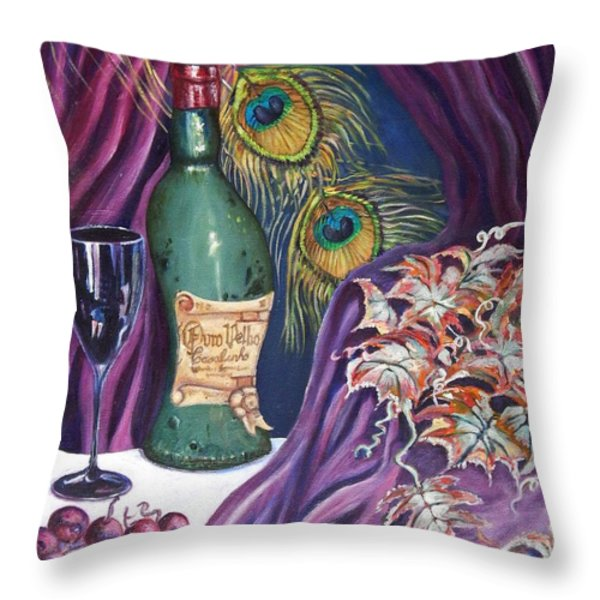 Red Wine and Peacock Feathers Throw Pillow by Caroline Street