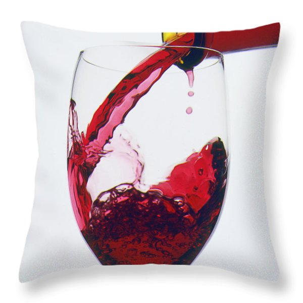 Red wine being poured  Throw Pillow by Garry Gay