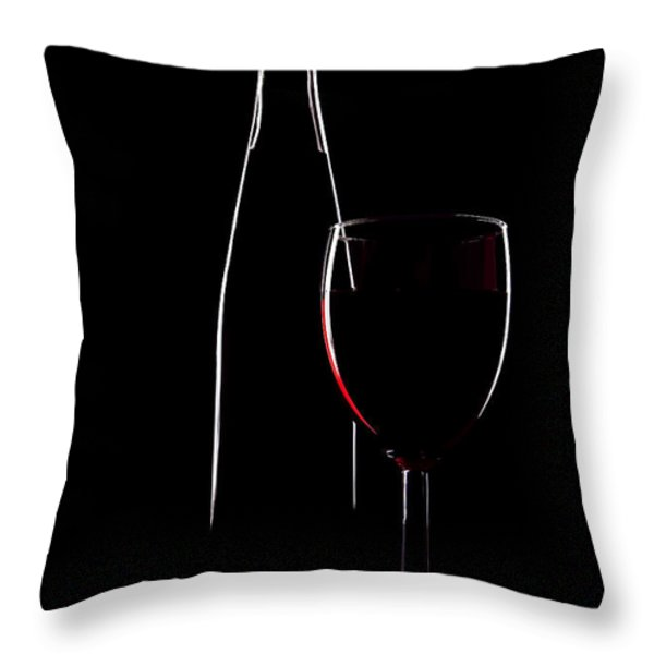 Red Wine Throw Pillow by Marcia Colelli