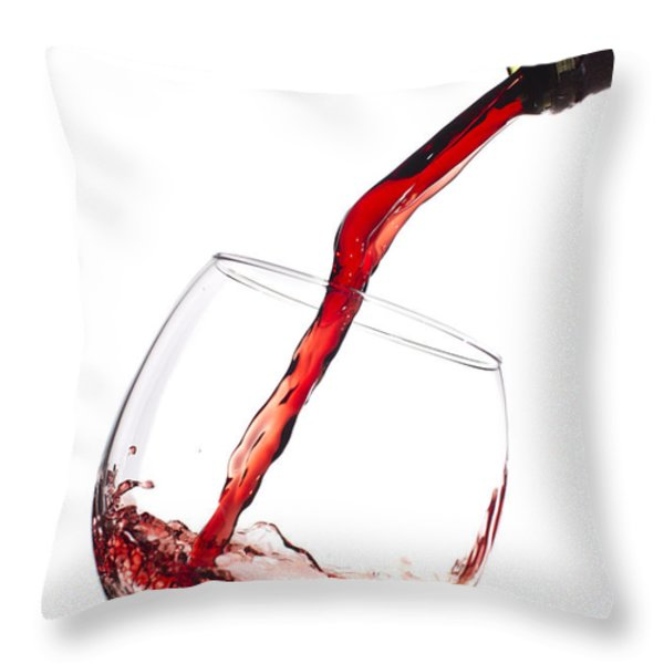 Red Wine Pouring into wineglass splash Throw Pillow by Dustin K Ryan