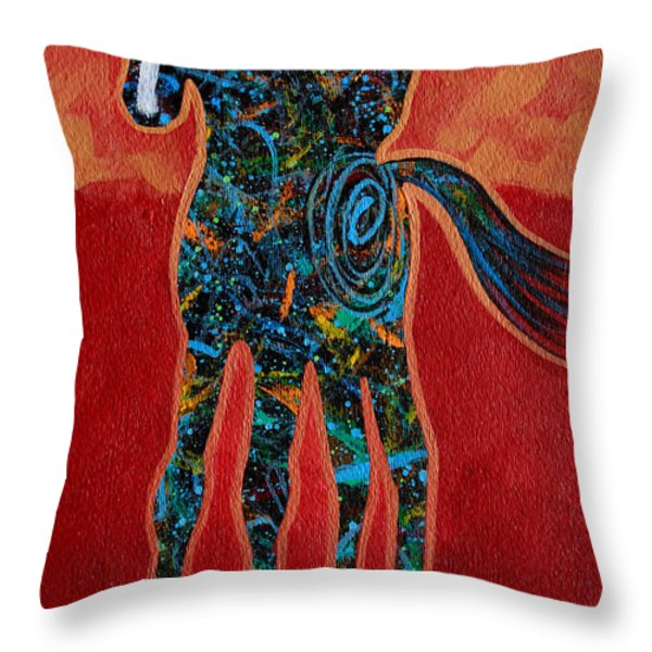 Red With Rope Throw Pillow by Lance Headlee