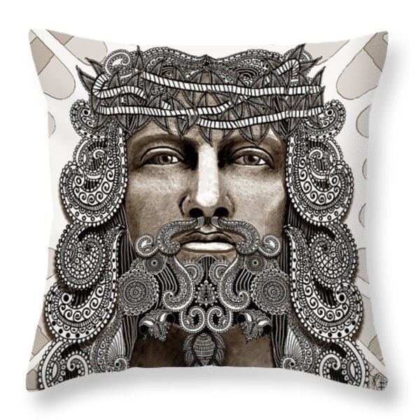 Redeemer - Modern Jesus Iconography - Copyrighted Throw Pillow by Christopher Beikmann