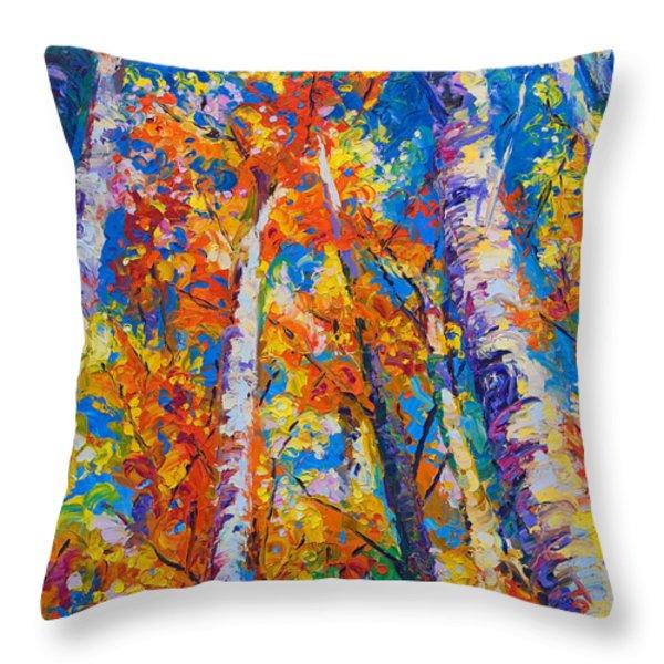 Redemption - fall birch and aspen Throw Pillow by Talya Johnson