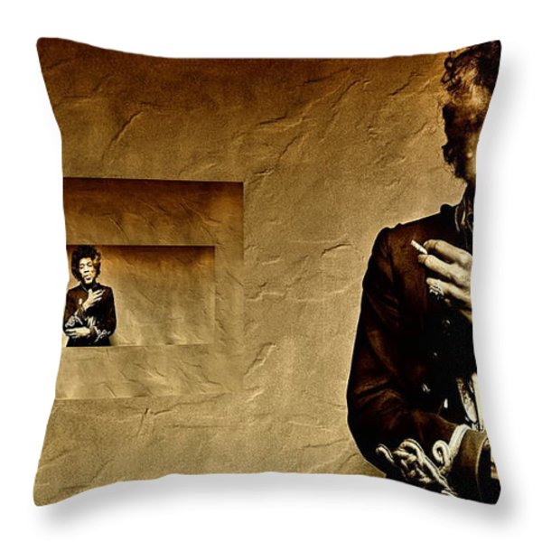 Reflecting On Jimi Hendrix  Throw Pillow by Andrea Kollo