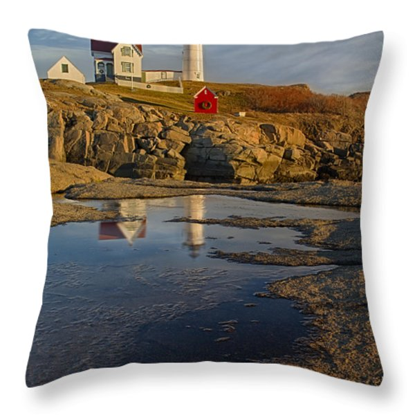 Reflecting On Nubble Lighthouse Throw Pillow by Susan Candelario