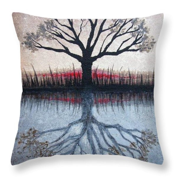 Reflecting Tree Throw Pillow by Janet King