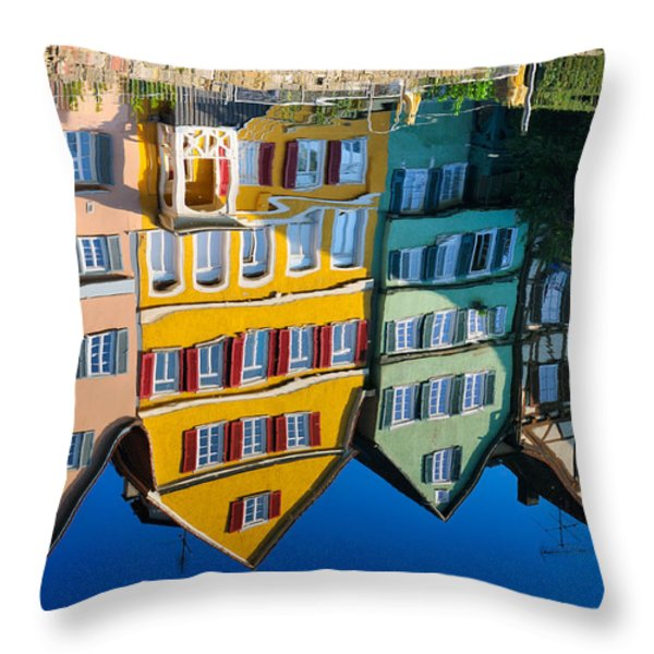 Reflection Of Colorful Houses In Neckar River Tuebingen Germany Throw Pillow by Matthias Hauser