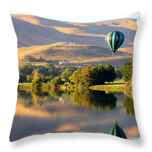 Reflection of Prosser Hills Throw Pillow by Carol Groenen