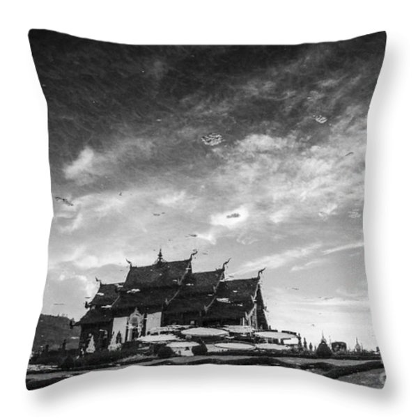 Reflection Of Royal Park Rajapruek Temple In The Water Throw Pillow by Setsiri Silapasuwanchai