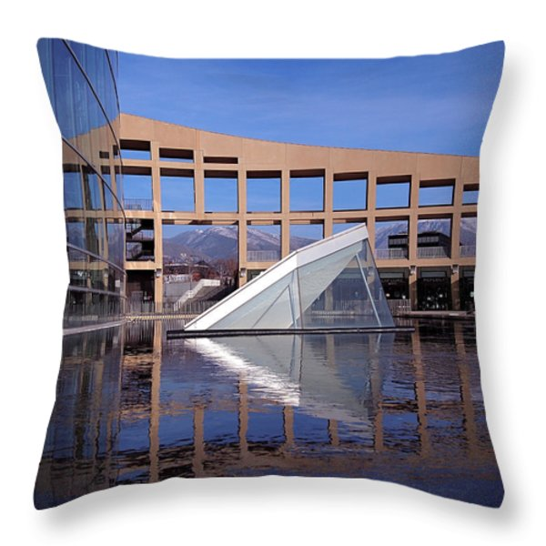 Reflections at the Library Throw Pillow by Rona Black