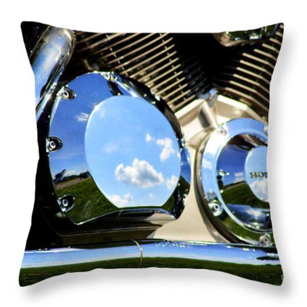 Reflections In The V Twin Throw Pillow by Patti Whitten