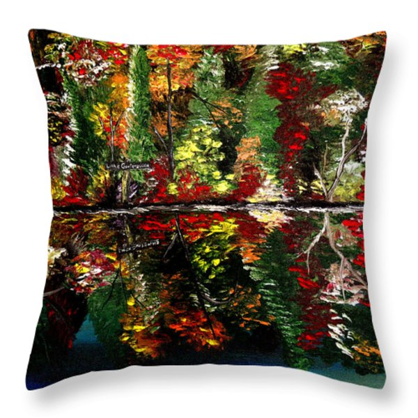 Reflections Of Fall Throw Pillow by Mark Moore