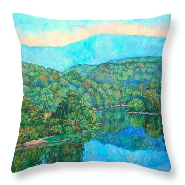 Reflections On The James River Throw Pillow by Kendall Kessler