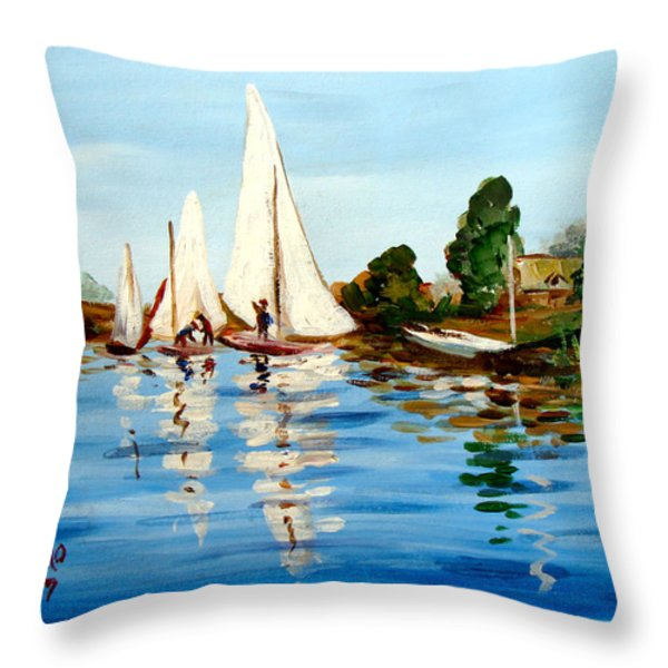 Regatta De Argenteuil Throw Pillow by Karon Melillo DeVega