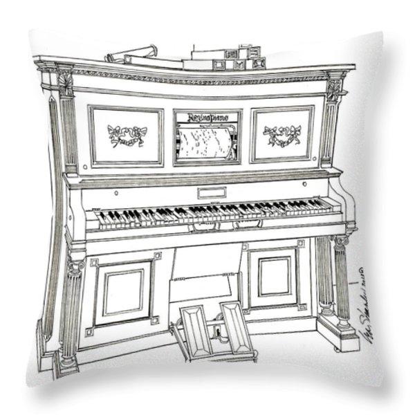 Regina Player Piano Throw Pillow by Ira Shander