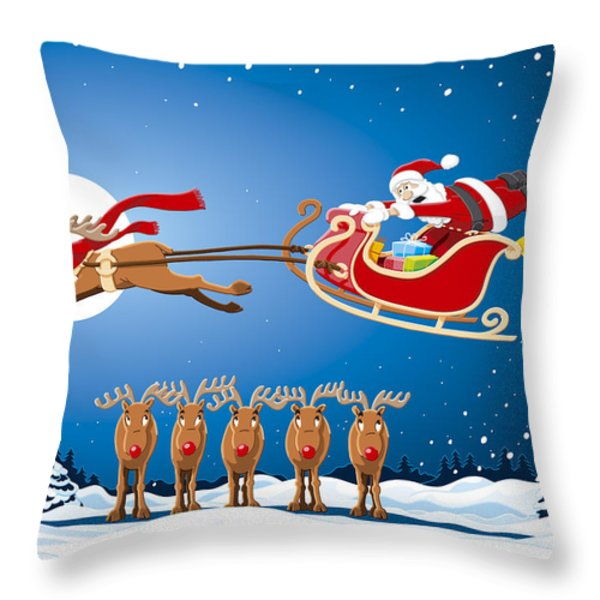 Reindeer Santa Sleigh Christmas Stunt Show Throw Pillow by Frank Ramspott