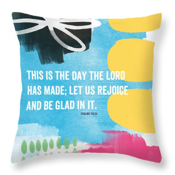 Rejoice And Be Glad- Contemporary Scripture Art Throw Pillow by Linda Woods