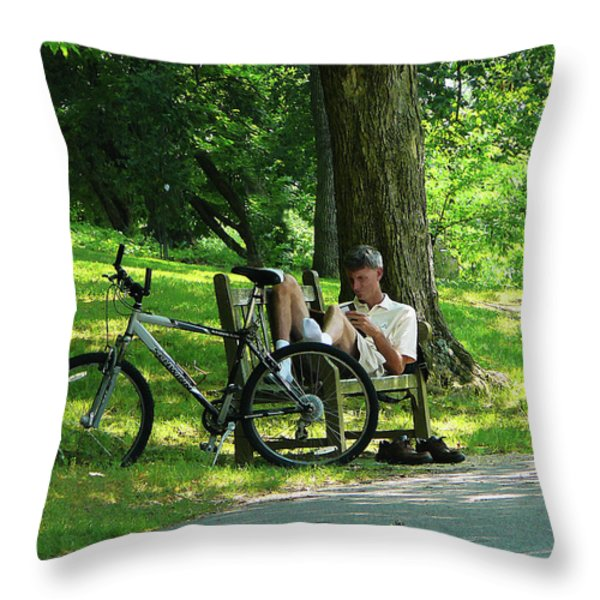 Relaxing After The Ride Throw Pillow by Susan Savad
