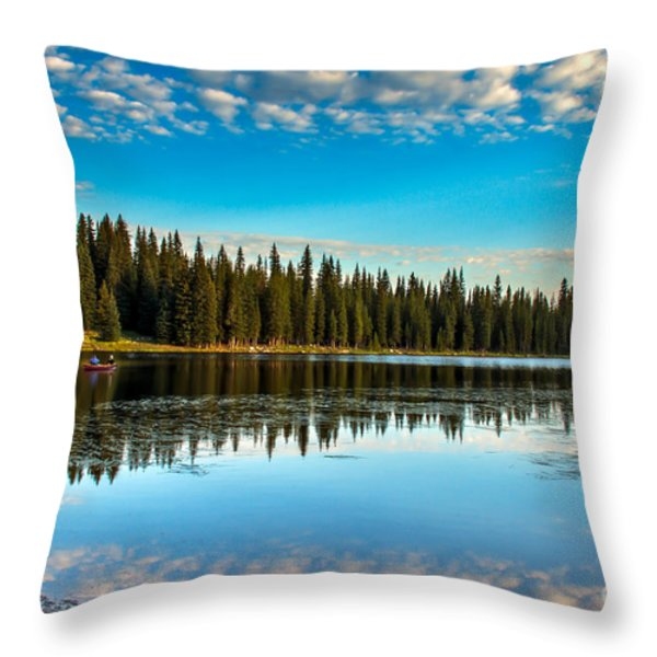Relaxing On The Lake Throw Pillow by Robert Bales