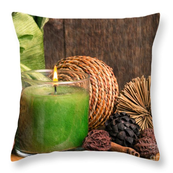 Relaxing Spa candle Throw Pillow by Edward Fielding