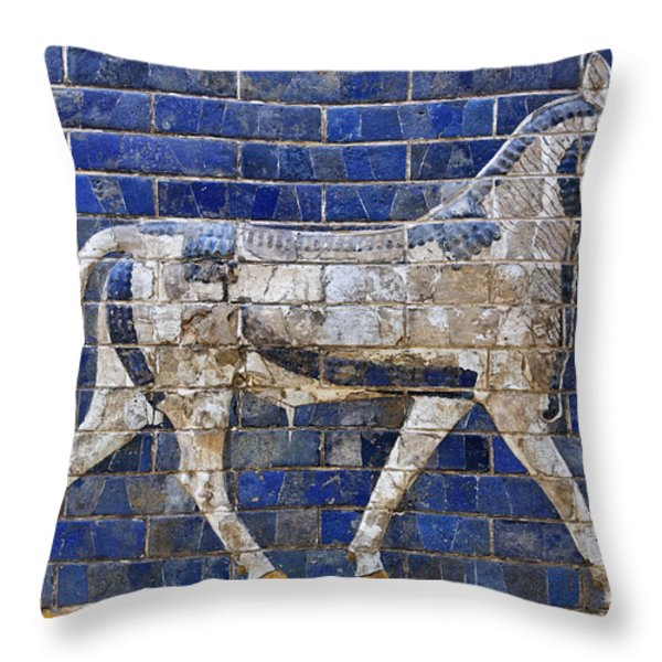 Relief From Ishtar Gate In Babylon Throw Pillow by Robert Preston