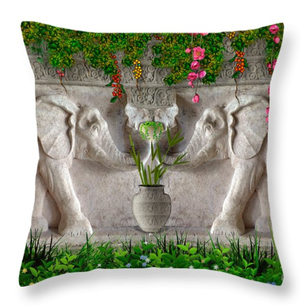Relief Of African Elephants Throw Pillow by Bedros Awak