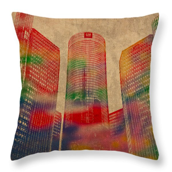 Renaissance Center Iconic Buildings of Detroit Watercolor on Worn Canvas Series Number 2 Throw Pillow by Design Turnpike