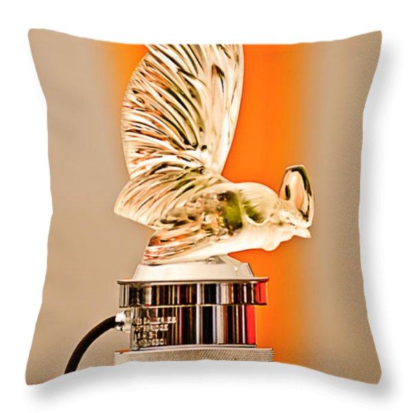 Rene Lalique -Coq Nain - 1930 Bentley Speed Six H.J Mulliner Saloon Hood Ornament Throw Pillow by Jill Reger